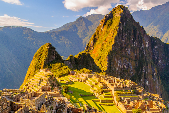 Macchu Picchu bathed in sunlight