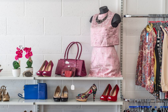 Image of a shop display in a Sue Ryder charity shop