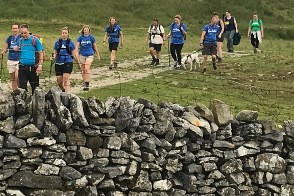 thirteen Sue Ryder walkers head along a gravel path towards a stone wall
