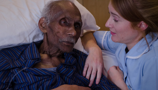 Sue Ryder nurse and hospice patient