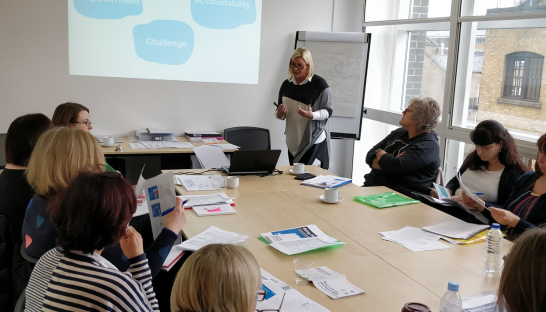 Image of Jacqui Graves delivering Sue Ryder training