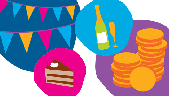 Cake bunting coins champagne