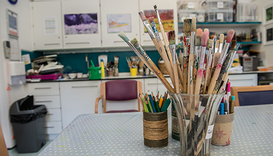 Art room at Leckhampton Court Hospice
