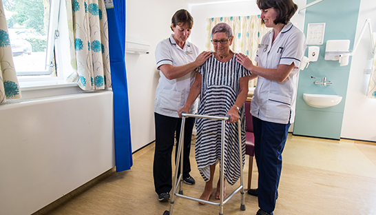 Patient with walker in physiotherapy