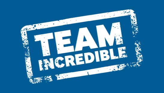 Team Incredible stamp on dark blue background-546