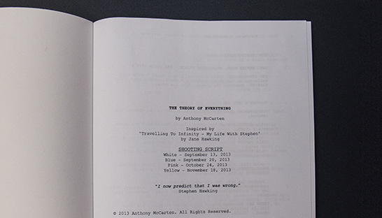 Eddie Redmayne's The Theory of Everything script