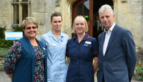 Elise Hoadley, Leckhampton Court Hospice Director; Nursing Assistant Becky Clarke; Head of Clinical Services Debbie Williams; and  Edward Gillespie, Chairman of the Trustees for The Summerfield Charitable Trust.