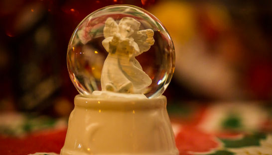 Angel in a snow globe at Wheatfields Lights of Love