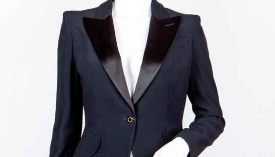 Image of Alexander McQueen black tuxedo blazer available to buy at Sue Ryder's exclusive pop-up shop