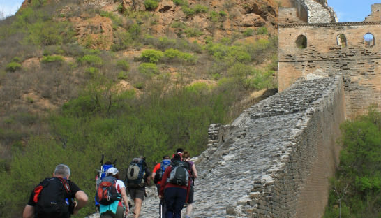 Walkers trekking the Great Wall of China