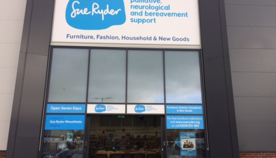front of the East Garforth shop displaying the Sue Ryder logo