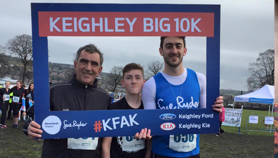 Ryan in a selfie frame at the Keighley Big 10K