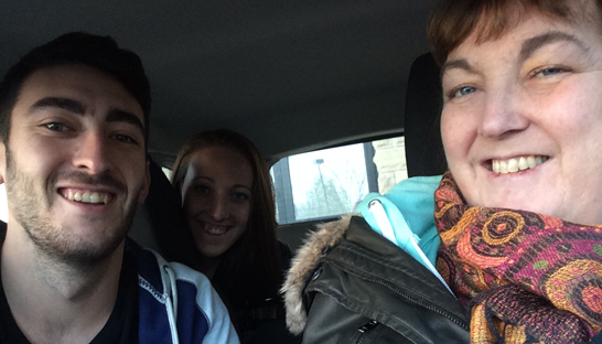 Ryan, Lucy and his mum on the way home from hospital