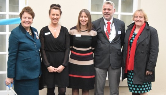 Pictured from left to right are the Lord-Lieutenant of Suffolk, Clare Countess of Euston; Pamela Mackenzie, Sue Ryder's executive director for neurological services and Scotland; Jo Marshall, centre director at The Chantry; Mark Pepper, operational lead for medicine at Ipswich Hospital; and Nerinda Evans, associate director transformation at Suffolk's Clinical Commissioning Groups (CCGs).