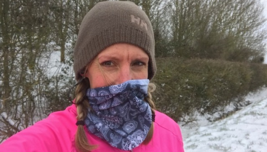 Anne braves the snow on her training runs