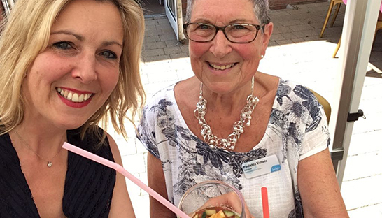 Sue Ryder Leckhampton supporters Paulette and Julia having a drink together