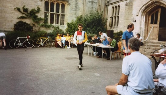 Alan signing up for Ride for Ryder in 1988