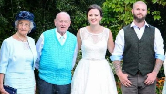 Sue Ryder London Marathon runner Chelsea with her beloved Granddad on her wedding day 546