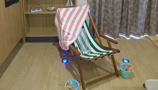 Deckchair in Clarissa Rayner's hospice bedroom