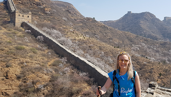 Our Sue Ryder trekker Hayley before she takes on the Great Wall of China steps