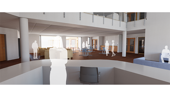 An artist's render of how the main atrium of the Neurological Care Centre Lancashire will look