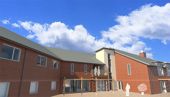 An artist's render of how the front of the new flats at the Neurological Care Centre Lancashire will look