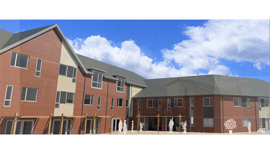 An artist's render of how the rear of the new flats at the Neurological Care Centre Lancashire will look