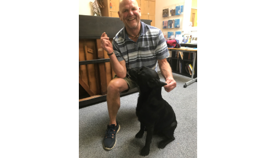 Steve and Harley the therapy dog
