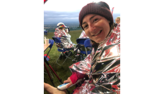 Kate Carr keeping warm during her ultramarathon