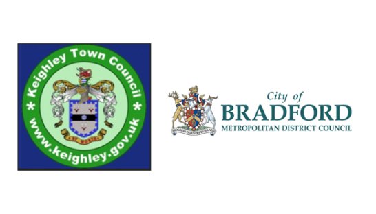 Keighley Town Council and the City of Bradford Metropolitan District Council logos