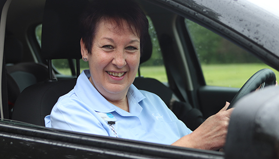 Thorpe Hall Hospice at Home Nurse in car
