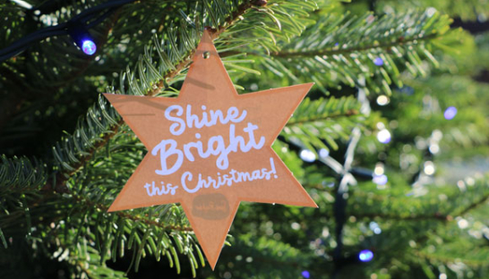 A 'Shine Bright This Christmas' star in a Christmas tree