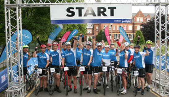 Cyclists for the Ride for Ryder event, at the starting line.