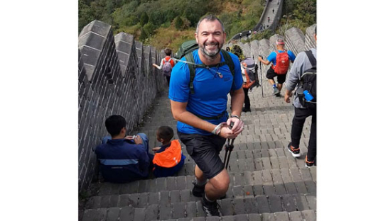 Lee Jackson on the stone steps during his epic Great Wall of China trek.