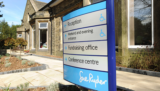 Image of Sue Ryder signage outside care centre
