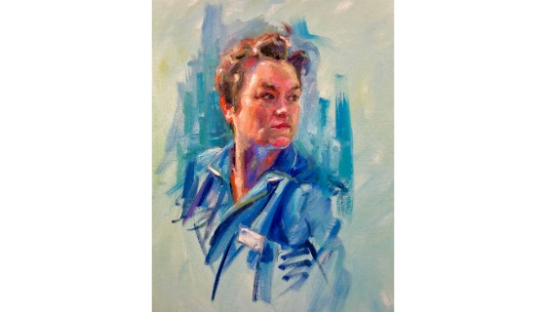 Finished portrait of Sue Ryder Nurse, Megan, by the artist, Thomas Croft