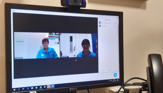 Sue Ryder Nurses talking on a computer screen for virtual day therapy