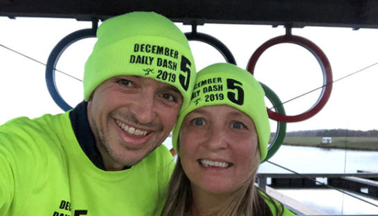 Mark and Jackie Smith in their bright green December Daily Dash gear.
