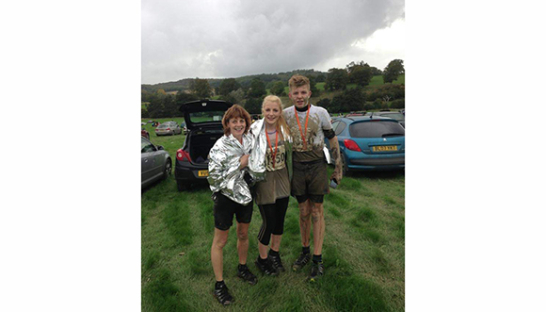 Bel, Letty and Joby together at a mud run event