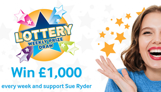 The Sue Ryder Lottery logo with 'Win £1,000' text