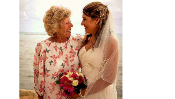 Michelle in her wedding dress with her late mum