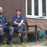James and Natalie, members of Sue Ryder Leckhampton Court Hospice's maintenance team