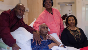 A patient in a hospice and his family