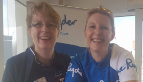 JOGLE cyclist Nicky with Leckhampton Court Hospice director Elise