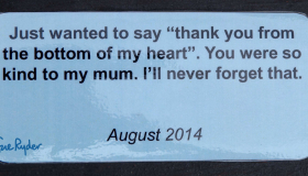 Image of a thank you note from a young carer to a Sue Ryder hospice