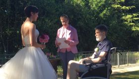 Belinda and John on their wedding day at Manorlands Hospice