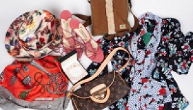 Image of designer items available to purchase at Sue Ryder's pop up shop at Bonhams