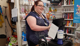 Allestree Shop Supervisor Elizabeth Meakin working hard