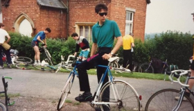 Alan with his bike getting ready for Ride for Ryder in 1988