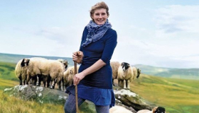 Amanda Owen, the Yorkshire Shepherdess, with her flock